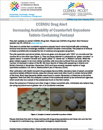 Increasing Availability of Counterfeit Oxycodone Tablets Containing Fentanyl (CCENDU Drug Alert)