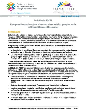 Bulletin du RCCET : Changements dans l'usage de stimulants et ses méfaits : gros plan sur la méthamphétamine et la cocaïne