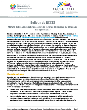 Méfaits de l'usage de substances lors de festivals de musique au Canada de mai à juillet 2017 (Bulletin du RCCET)