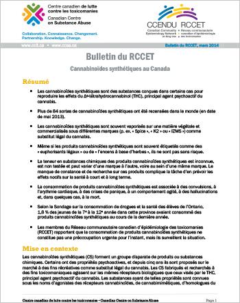 Cannabinoïdes synthétiques au Canada : Bulletin du RCCET