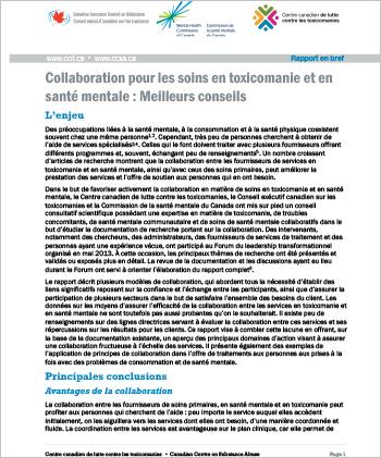 Collaboration pour les soins en toxicomanie et en santé mentale : Meilleurs conseils (Rapport en bref)
