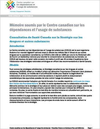 Consultation de Santé Canada sur la Stratégie sur les drogues et autres substances