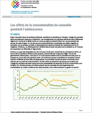 Les effets de la consommation de cannabis pendant l'adolescence (Rapport en bref)