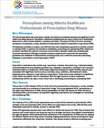 Perceptions among Alberta Healthcare Professionals of Prescription Drug Misuse (Report in Short)