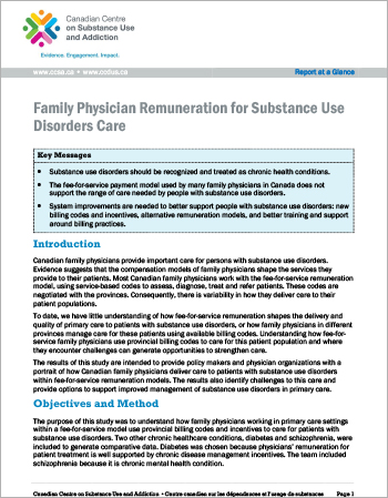 Family Physician Remuneration for Substance Use Disorders Care (Report at a Glance)