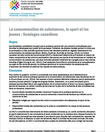 La consommation de substances, le sport et les jeunes : Sondages canadiens