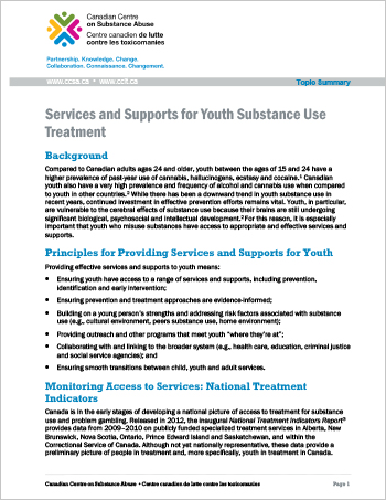 Services and Supports for Youth Substance Use Treatment (Topic Summary)