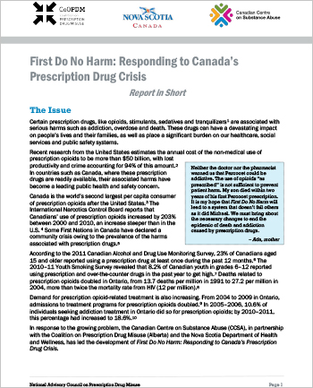 First Do No Harm: Responding to Canada's Prescription Drug Crisis (Report in Short)