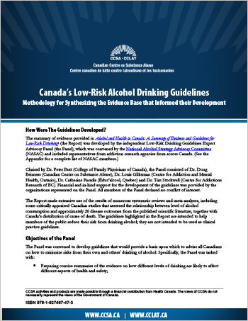 Canada's Low-Risk Alcohol Drinking Guidelines: Methodology for Synthesizing the Evidence Base that Informed their Development