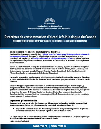 Directives de consommation d'alcool à faible risque du Canada : Méthodologie utilisée pour synthétiser les données à la base des directives