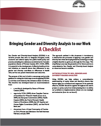 Bringing Gender and Diversity Analysis to our Work: A Checklis