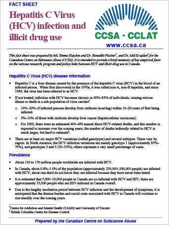 Hepatitis C Virus (HCV) Infection and Illicit Drug Use (Fact Sheet)