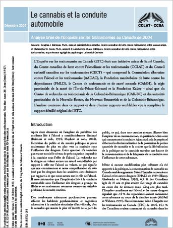 Le cannabis et la conduite automobile : Analyse tirée de l'Enquête sur les toxicomanies au Canada de 2004