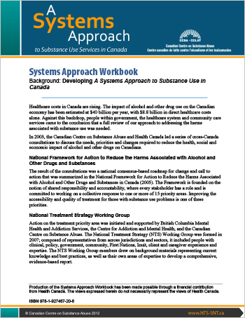 Systems Approach Workbook: Background: Developing A Systems Approach to Substance Use in Canada
