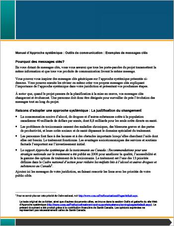 Manuel d'Approche systémique: Outils de communication : Exemples de messages clés