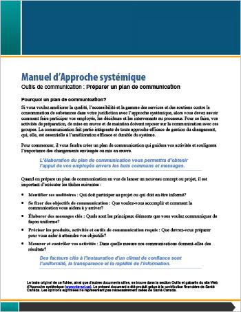 Manuel d'Approche systémique : Outils de communication : Préparer un plan de communication