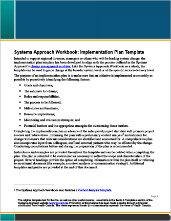 Systems Approach Workbook: Implementation Plan Template