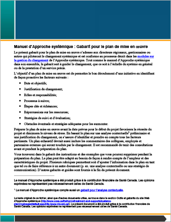 Manuel d'Approche systémique : Gabarit pour le plan de mise en œuvre