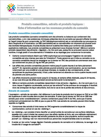 Produits comestibles, extraits et produits topiques :  introduction aux nouveaux produits du cannabis