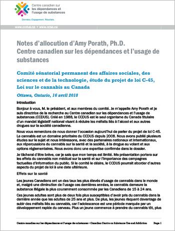 Présentation au Comité sénatorial permanent des affaires sociales, des sciences et de la technologie, étude du projet de loi C-45, Loi sur le cannabis au Canada