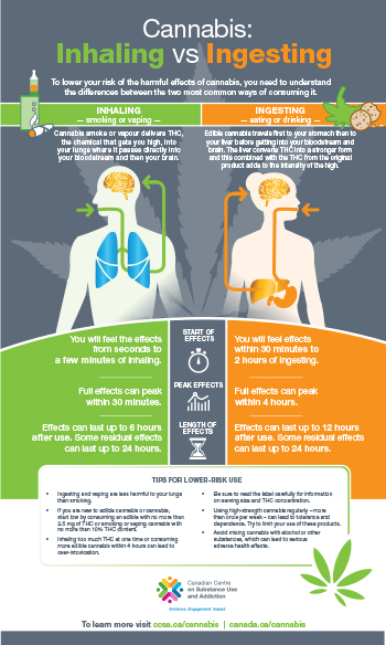 Cannabis: Inhaling vs Ingesting [infographic]