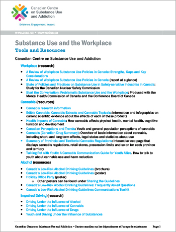 Substance Use and the Workplace: Tools and Resources