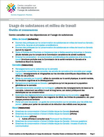 Usage de substances et milieu de travail : Outils et ressources