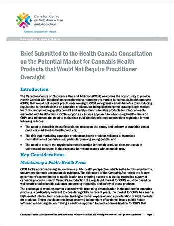 Brief Submitted to the Health Canada Consultation on the Potential Market for Cannabis Health Products that Would Not Require Practitioner Oversight