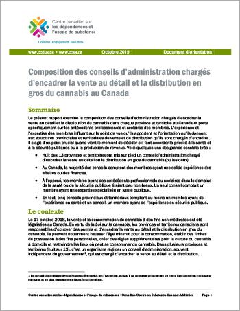 Composition des conseils d'administration chargés d'encadrer la vente au détail et la distribution en gros du cannabis au Canada [Document dorientation]