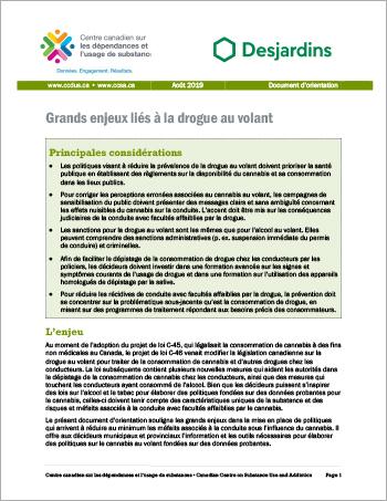 Grands enjeux liés à la drogue au volant [Document d'orientation]
