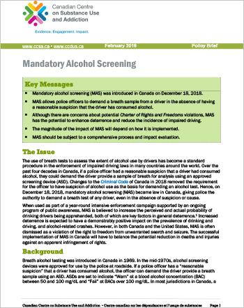 Mandatory Alcohol Screening [Policy Brief]