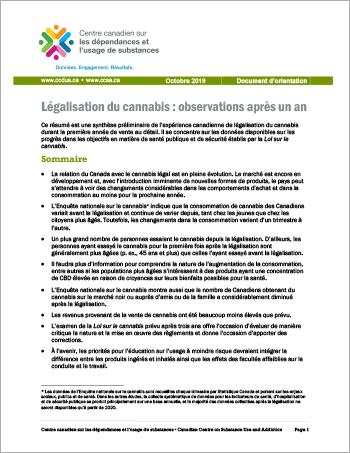 Légalisation du cannabis : observations après un an