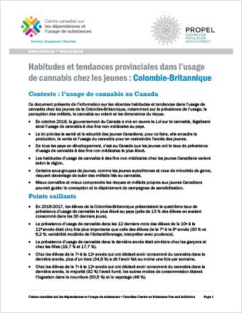 Habitudes et tendances provinciales dans l'usage de cannabis chez les jeunes: Colombie-Britannique