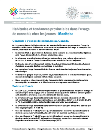 Habitudes et tendances provinciales dans l'usage de cannabis chez les jeunes : Manitoba