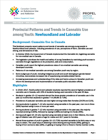 Provincial Patterns and Trends in Cannabis Use among Youth: Newfoundland and Labrador