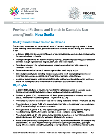 Provincial Patterns and Trends in Cannabis Use among Youth: Nova Scotia