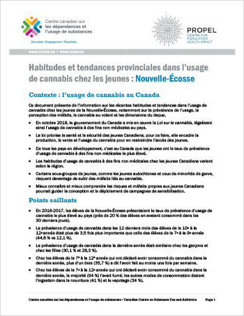 Habitudes et tendances provinciales dans l'usage de cannabis chez les jeunes : Nouvelle-Écosse