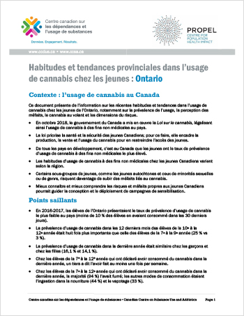 Habitudes et tendances provinciales dans l'usage de cannabis chez les jeunes: Ontario