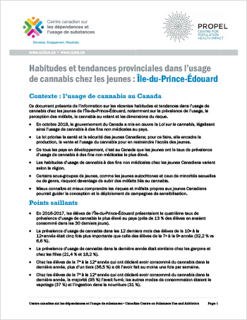Habitudes et tendances provinciales dans l'usage de cannabis chez les jeunes: Île-du-Prince-Édouard