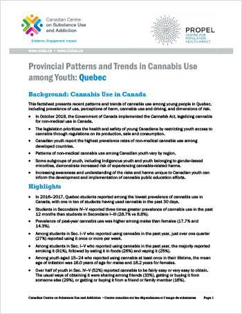 Provincial Patterns and Trends in Cannabis Use among Youth: Quebec