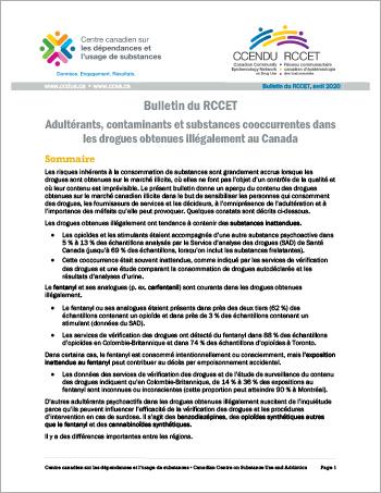 Adultérants, contaminants et substances cooccurrentes dans les drogues obtenues illégalement au Canada (Bulletin du RCCET)