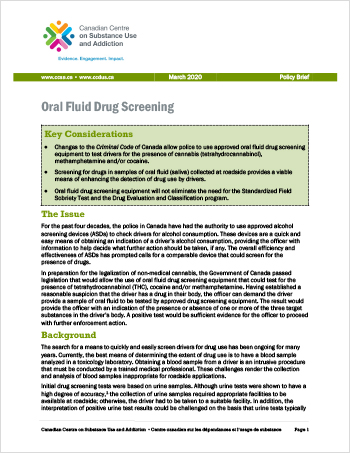 Oral Fluid Drug Screening (Policy Brief)