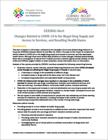 Changes Related to COVID-19 in the Illegal Drug Supply and Access to Services, and Resulting Health Harms (CCENDU Alert)