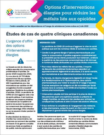 Options d'interventions élargies pour réduire les méfaits liés aux opioïdes : études de cas de quatre cliniques canadiennes