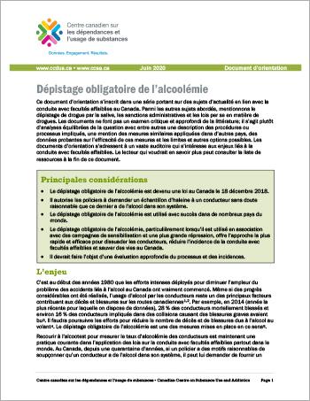 Dépistage obligatoire de l'alcoolémie [Document d'orientation]