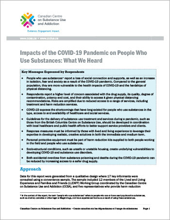 Impacts of the COVID-19 Pandemic on People Who Use Substances: What We Heard