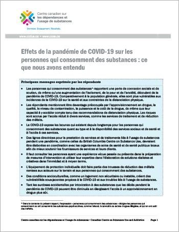 Effets de la pandémie de COVID-19 sur les personnes qui consomment des substances : ce que nous avons entendu