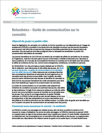 Retombées – Guide de communication sur le cannabis