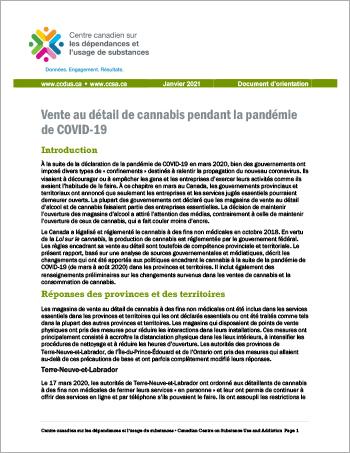 Vente au détail de cannabis pendant la pandémie de COVID-19 [Document d'orientation]