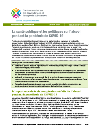 La santé publique et les politiques sur l'alcool pendant la pandémie de COVID-19 [Document d'orientation]